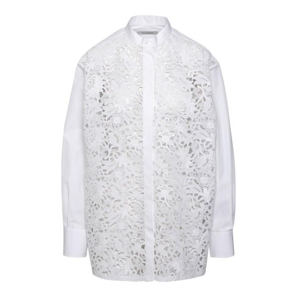 Camicia bianca con ricami a fiori                                                                                                                     Valentino VB0AB241 retro