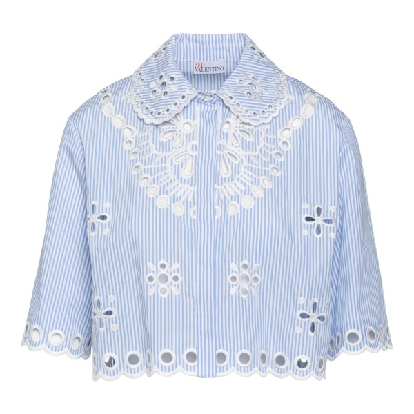 Light blue crop shirt with embroidery                                                                                                                 Red Valentino VR0AA02S back