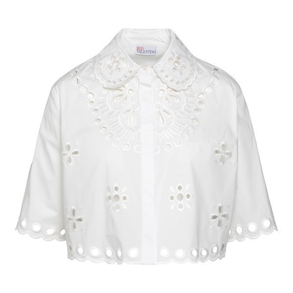 White crop-style shirt with embroidery                                                                                                                Red Valentino VR0AA02S_1 back
