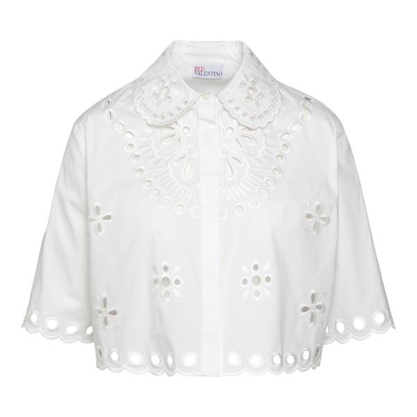 Camicia bianca stile crop con ricami                                                                                                                  Red Valentino VR0AA02S_1 retro