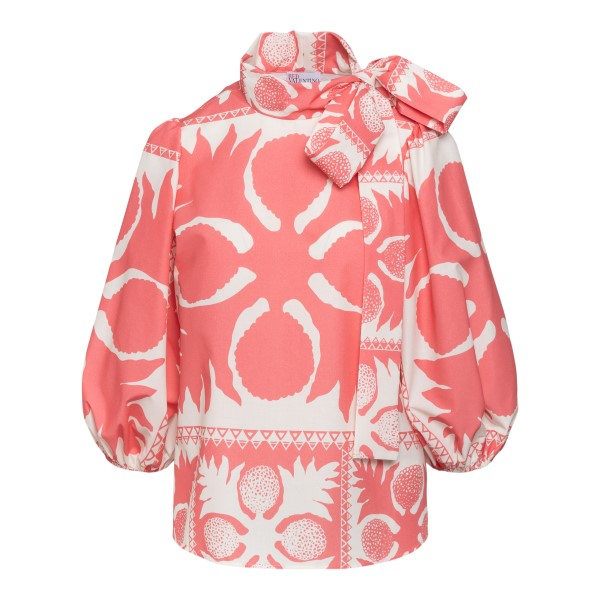 Two-tone patterned blouse with bow                                                                                                                    Red Valentino VR0AAC55 back