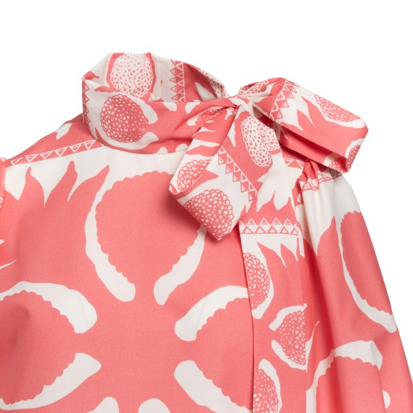 Two-tone patterned blouse with bow                                                                                                                     RED VALENTINO