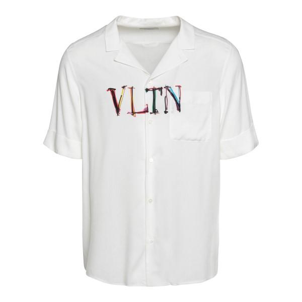 Camicia bianca con stampa logo                                                                                                                        Valentino VV3AA769 retro