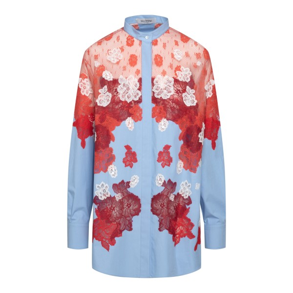 Light blue shirt with red lace                                                                                                                         VALENTINO