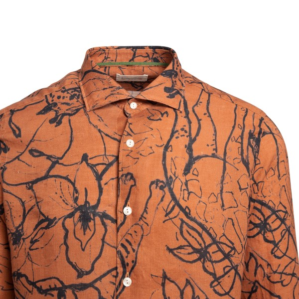 Orange shirt with graphic print                                                                                                                        TINTORIA MATTEI