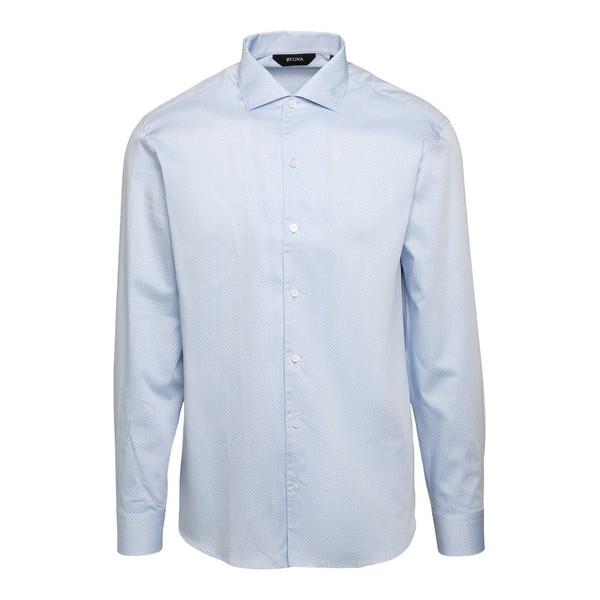 Camicia azzurra con motivo a micro-pois                                                                                                               Zegna ZCRO1 fronte