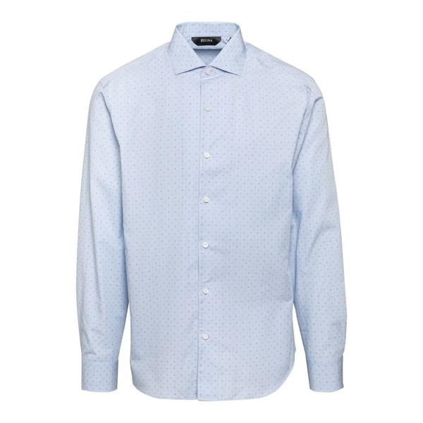 Camicia azzurra con stampa all-over                                                                                                                   Zegna ZCRO1 fronte