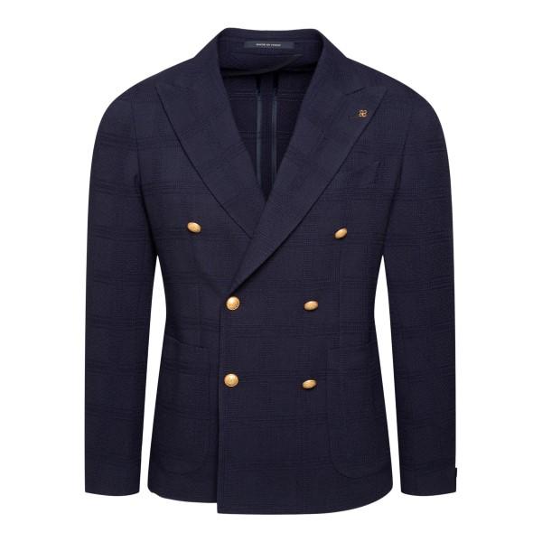 Blue blazer with checked texture                                                                                                                      Tagliatore 1SMC20K back