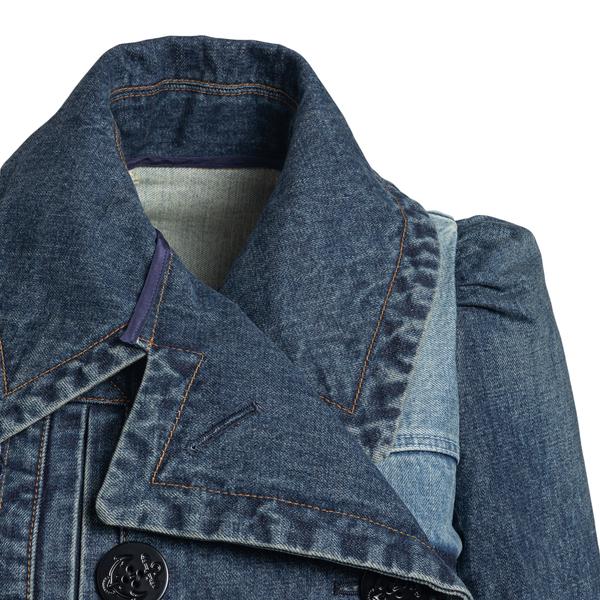 Double-breasted blue denim jacket                                                                                                                      SACAI