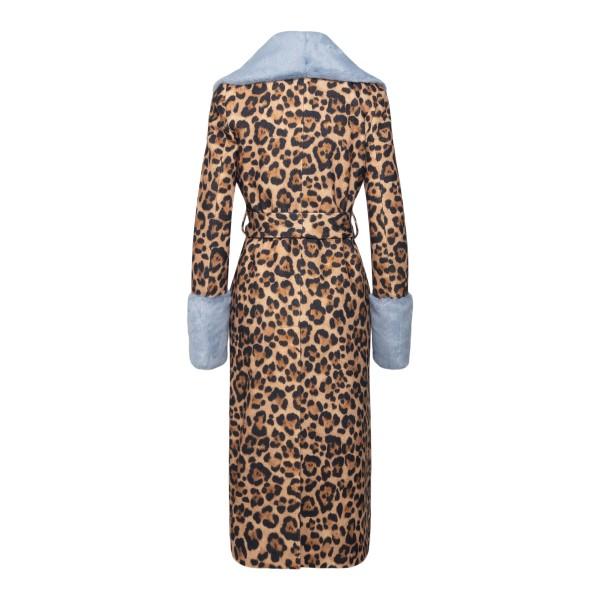 Cappotto lungo animalier con pelliccia                                                                                                                 BLUMARINE                                          BLUMARINE