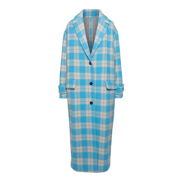 Long blue checked coat                                                                                                                                Msgm 3141MDC19A back