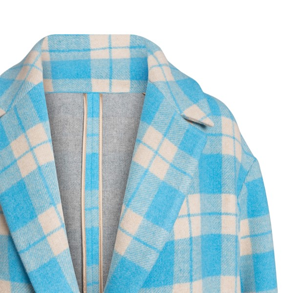 Long blue checked coat                                                                                                                                 MSGM