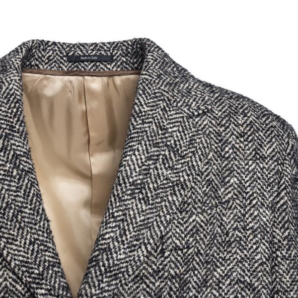 Black and grey herringbone wool lined coat                                                                                                             GUCCI