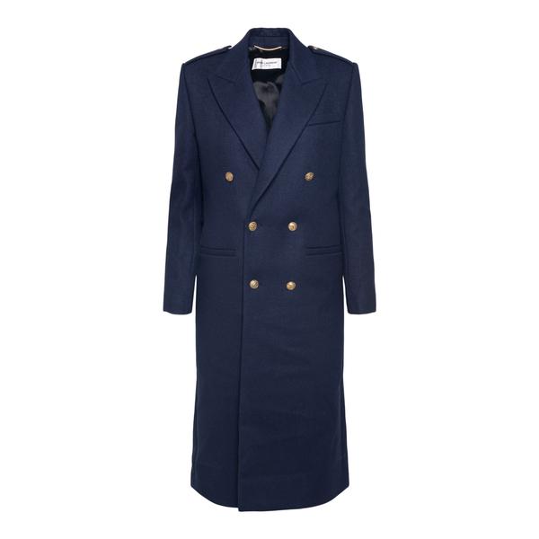 Long double-breasted blue coat                                                                                                                        Saint Laurent 661316 back