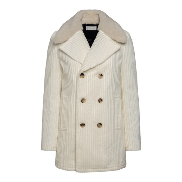 Double-breasted white coat                                                                                                                             SAINT LAURENT