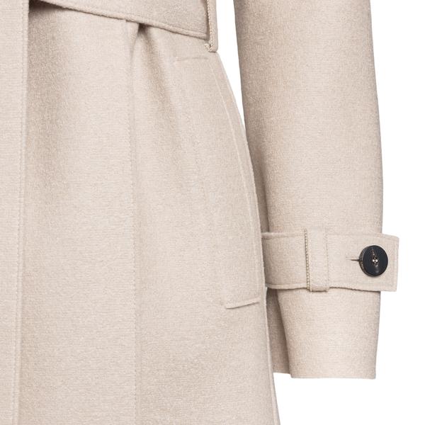 Beige coat with belt                                                                                                                                   HARRIS WHARF LONDON