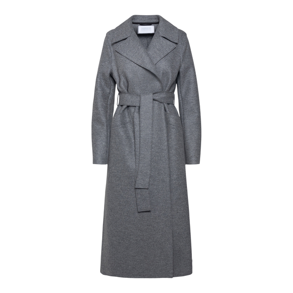 Cappotto lungo grigio con cintura                                                                                                                      HARRIS WHARF LONDON                                HARRIS WHARF LONDON