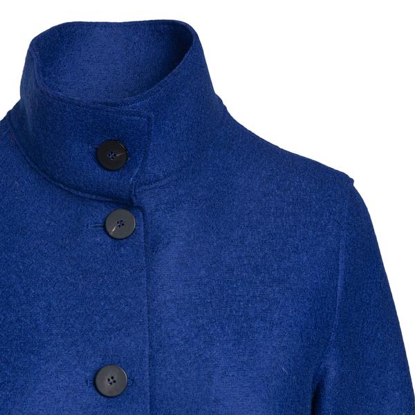 Blue coat with high collar                                                                                                                             HARRIS WHARF LONDON