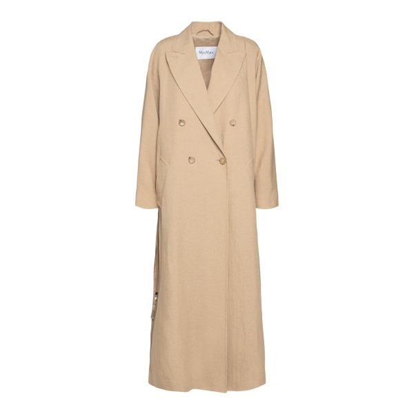 Double-breasted sand-colored trench coat                                                                                                              Max Mara ALPACA back