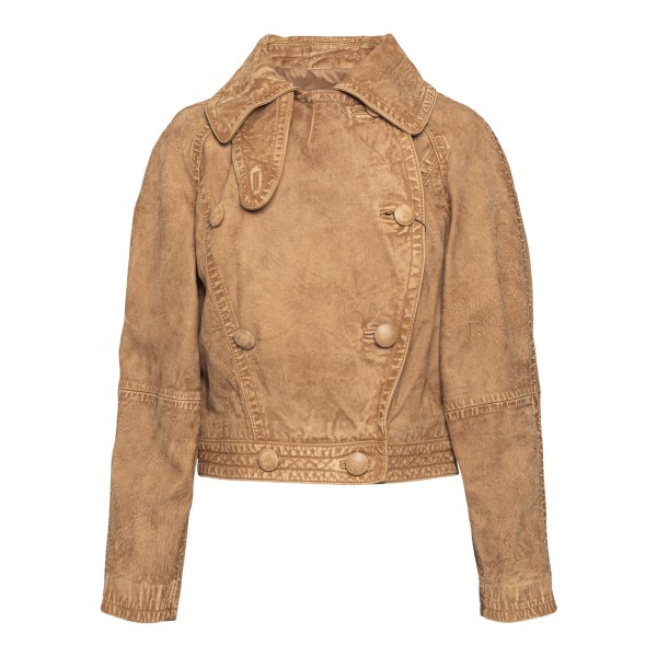 Double-breasted light brown leather jacket                                                                                                            Emporio Armani ANB01P back