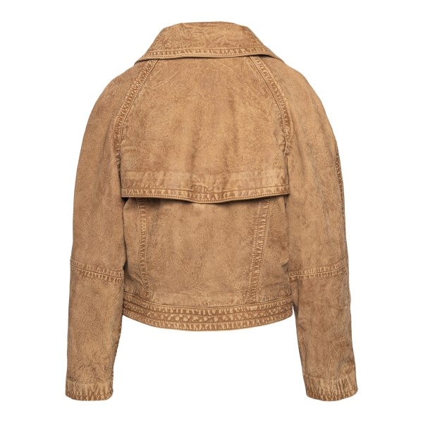 Double-breasted light brown leather jacket                                                                                                             EMPORIO ARMANI