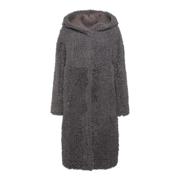 Grey shearling effect coat                                                                                                                             EMPORIO ARMANI