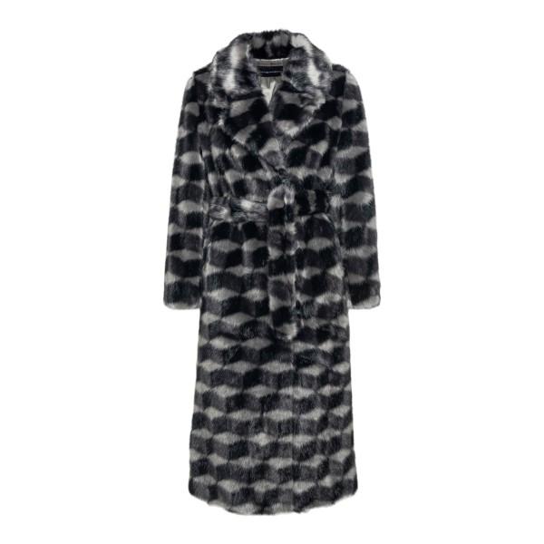 Two-tone coat in fur effect                                                                                                                            EMPORIO ARMANI