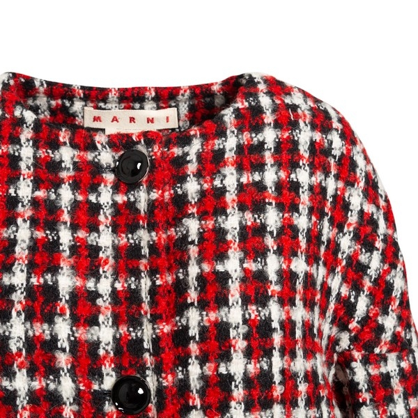Red, white and black oversized checked coat                                                                                                            MARNI