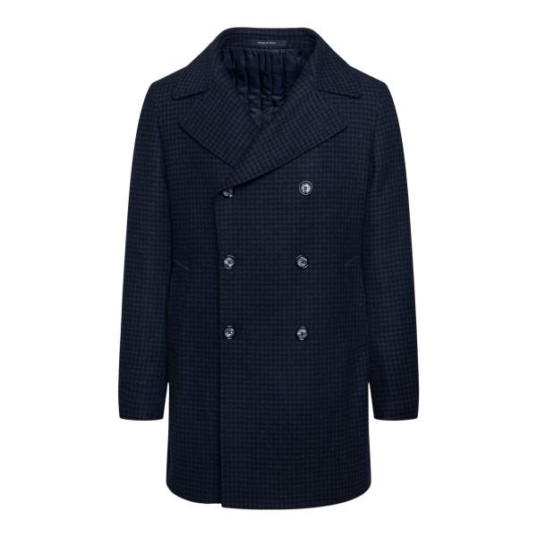 Double-breasted blue coat                                                                                                                              TAGLIATORE