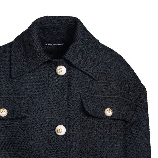 Black coat with pearl buttons                                                                                                                          DOLCE&GABBANA