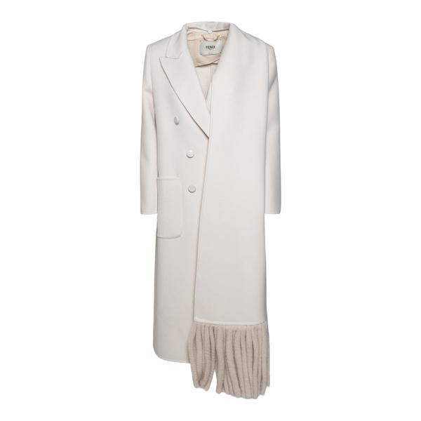 Long white coat with fringes                                                                                                                          Fendi FF8815 back