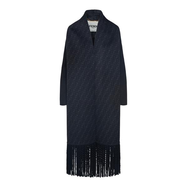 Black coat in scarf design                                                                                                                            Fendi FJ7216 back