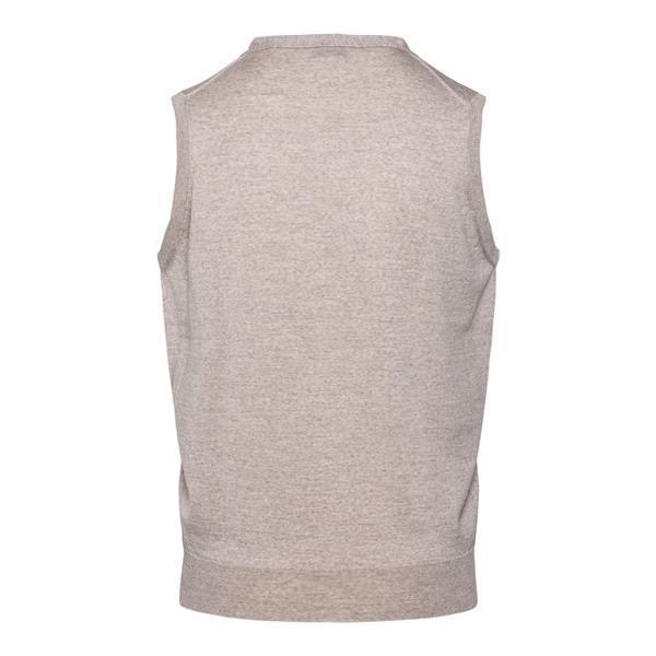 Lightweight beige knitted vest                                                                                                                         JOHN SMEDLEY