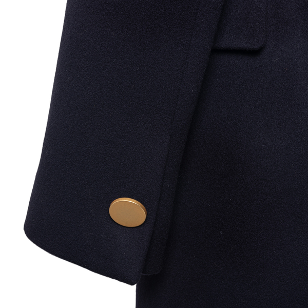 Long blue coat with gold buttons                                                                                                                       TAGLIATORE