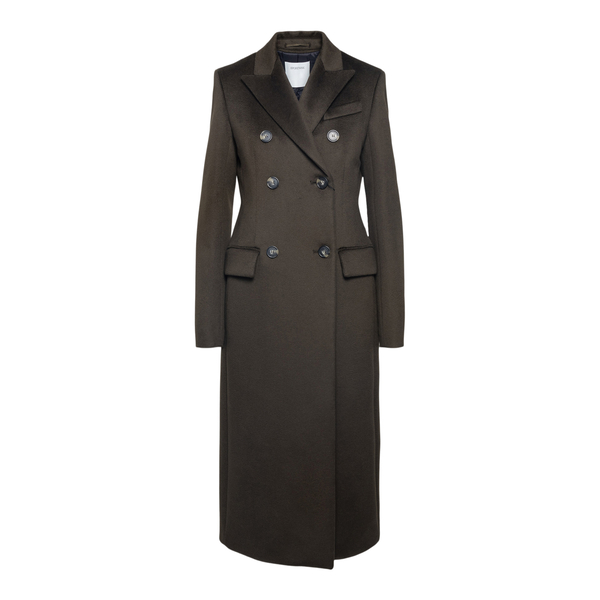 Long brown double-breasted coat                                                                                                                        SPORTMAX