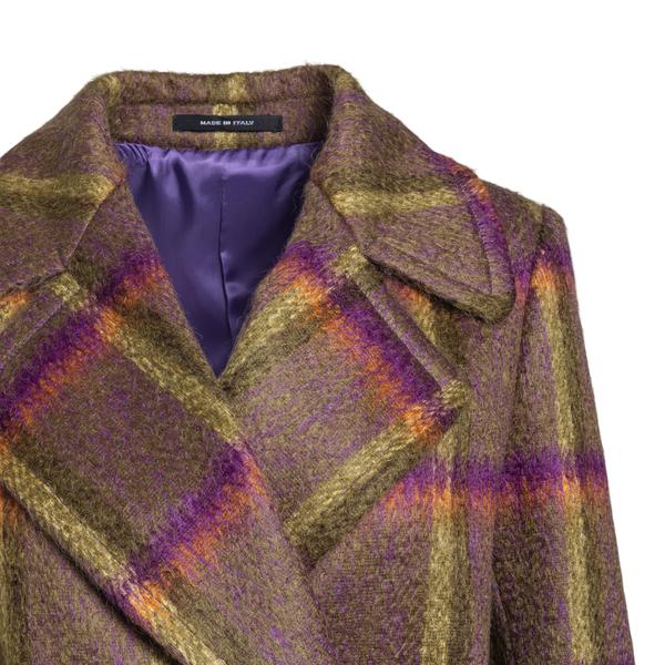 Long brown checked coat                                                                                                                                TAGLIATORE