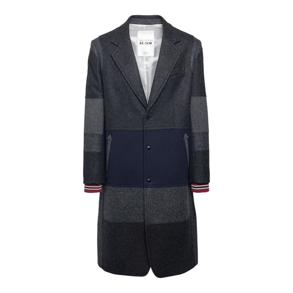 Gray coat in color-block style                                                                                                                        Valentino UV0CAD90 front