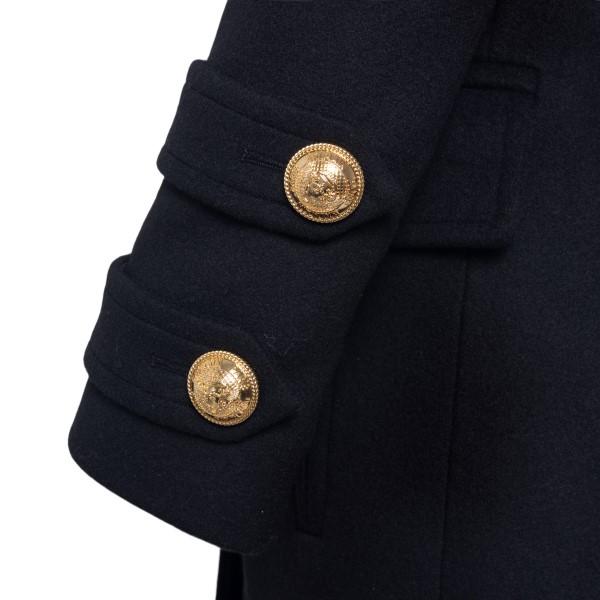 Black coat with gold buttons                                                                                                                           BALMAIN