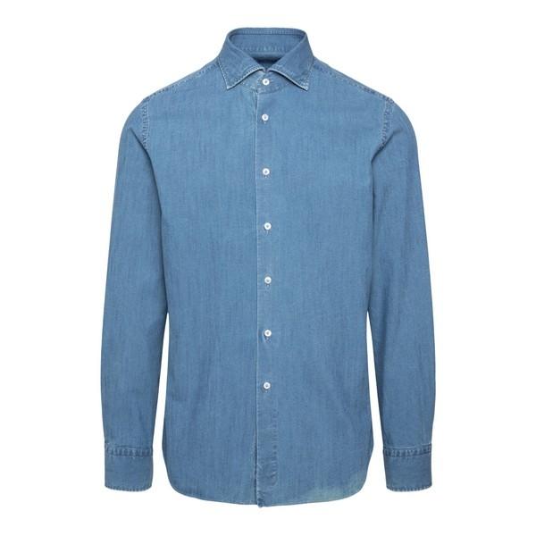 Camicia in denim blu                                                                                                                                  Xacus 222 fronte