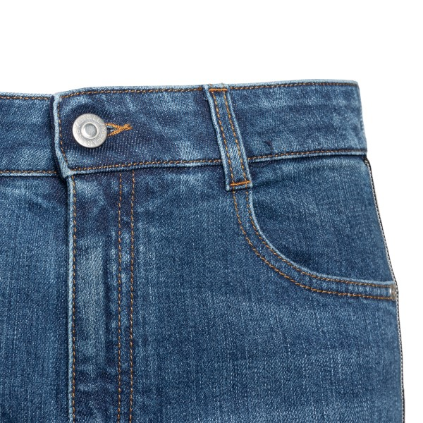Jeans crop con fasce logo laterali                                                                                                                     STELLA MCCARTNEY                                   STELLA MCCARTNEY