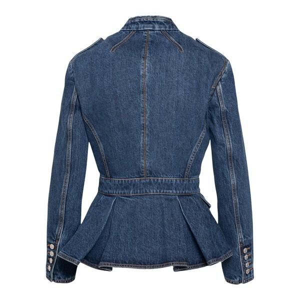 Blue denim jacket with peplum hem                                                                                                                      ALEXANDER MCQUEEN