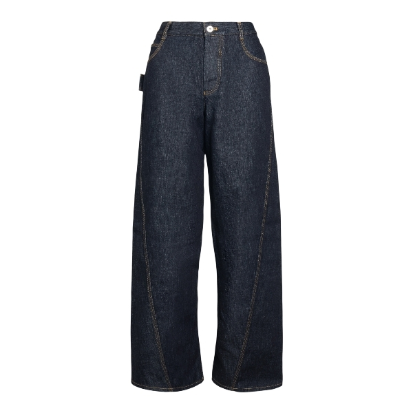 High-waisted jeans in blue denim                                                                                                                      Bottega veneta 646641 front