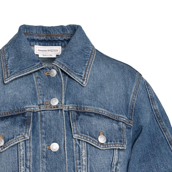 Blue cropped denim jacket                                                                                                                              ALEXANDER MCQUEEN