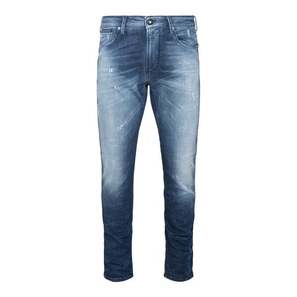 Jeans blu a effetto vissuto con strappi                                                                                                               Emporio Armani 6K1J06 retro