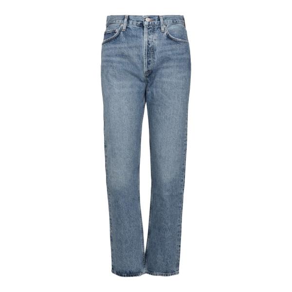 Light blue high-waisted jeans                                                                                                                         Agolde A154 back