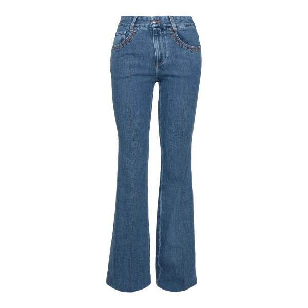 Jeans blu svasati con stampa logo                                                                                                                     Chloe' C21UDP82 retro