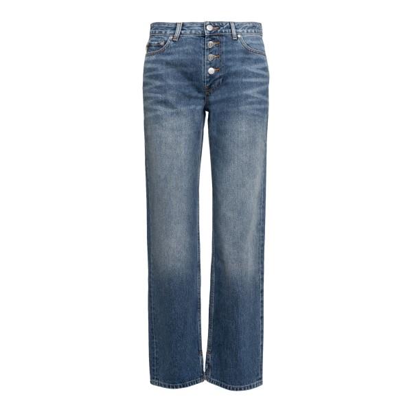 Jeans blu a gamba dritta con logo                                                                                                                     Ganni F5481 retro