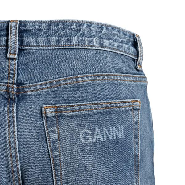 Jeans blu a gamba dritta con logo                                                                                                                      GANNI                                              GANNI