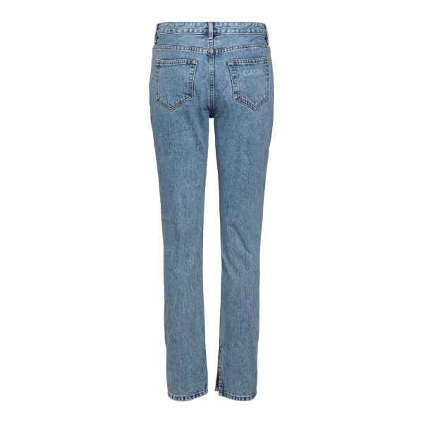 Jeans dritti con stampa nome brand                                                                                                                     GANNI                                              GANNI