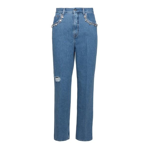 Jeans blu chiaro con cristalli                                                                                                                        Golden Goose GWP00102 retro